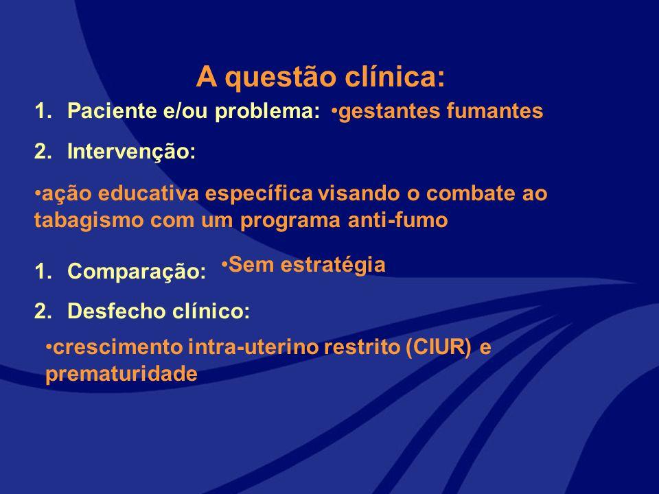 A questão clínica: Paciente e/ou problema: Intervenção: Comparação: