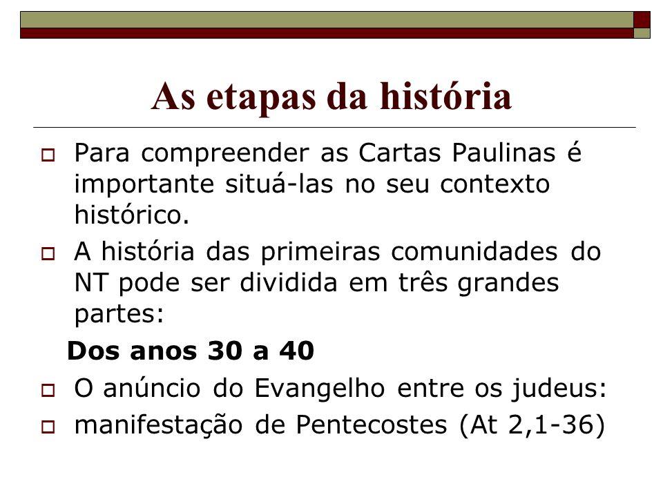 As etapas da história Para compreender as Cartas Paulinas é importante situá-las no seu contexto histórico.