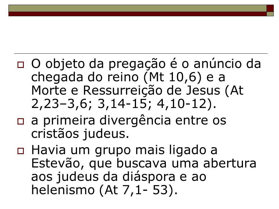 O objeto da pregação é o anúncio da chegada do reino (Mt 10,6) e a Morte e Ressurreição de Jesus (At 2,23–3,6; 3,14-15; 4,10-12).