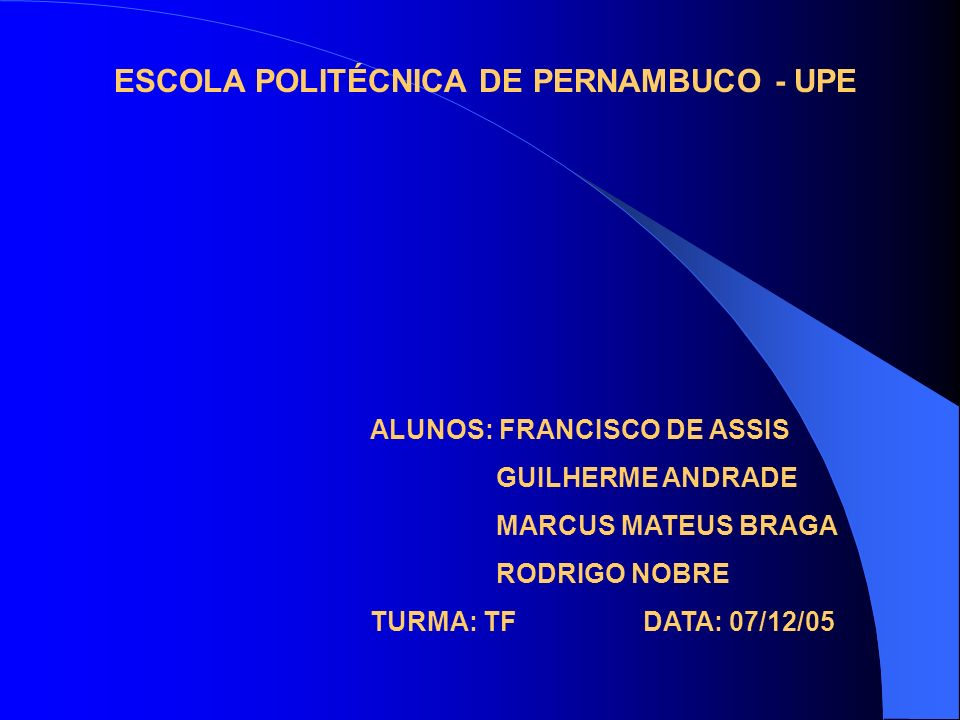 ESCOLA POLITÉCNICA DE PERNAMBUCO - UPE