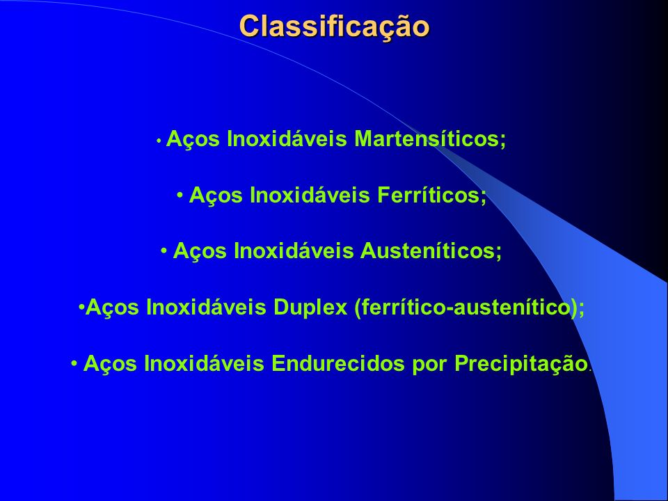 Classificação Aços Inoxidáveis Ferríticos;