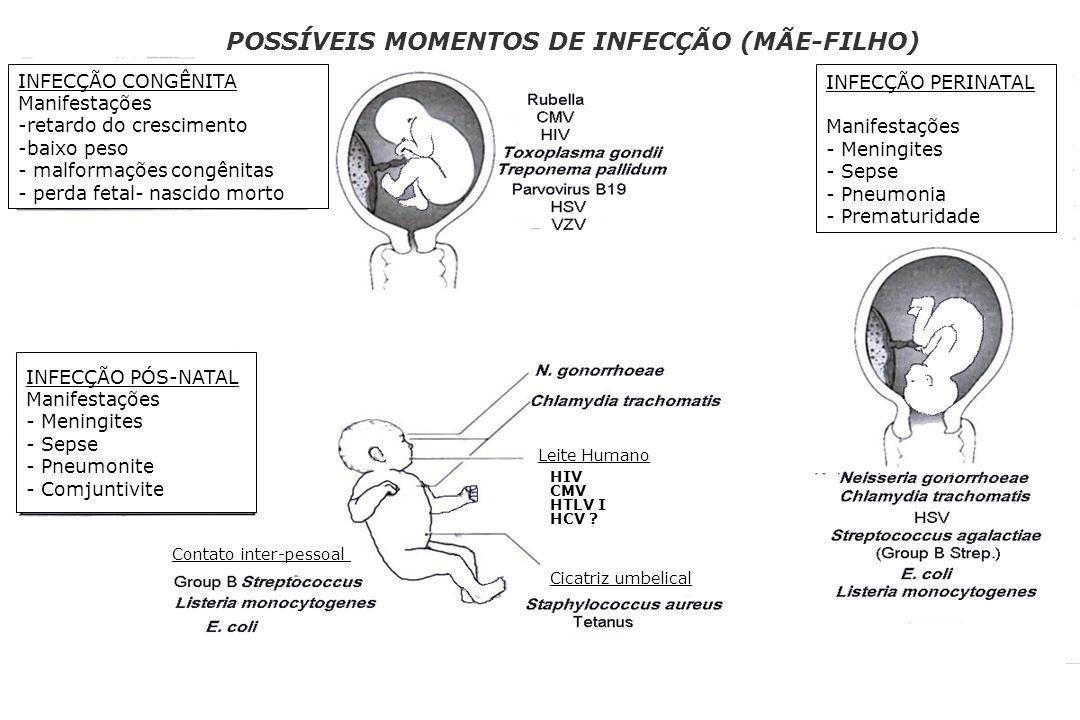 POSSÍVEIS MOMENTOS DE INFECÇÃO (MÃE-FILHO)