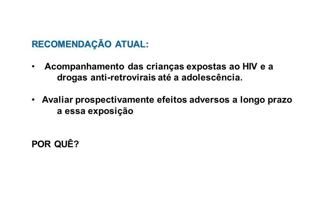 RECOMENDAÇÃO ATUAL:Acompanhamento das crianças expostas ao HIV e a. drogas anti-retrovirais até a adolescência.