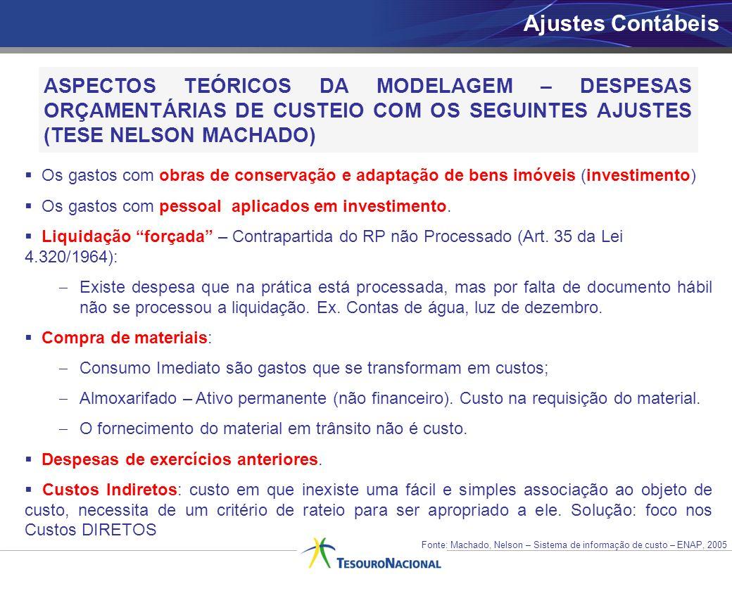 Ajustes Contábeis ASPECTOS TEÓRICOS DA MODELAGEM – DESPESAS ORÇAMENTÁRIAS DE CUSTEIO COM OS SEGUINTES AJUSTES (TESE NELSON MACHADO)