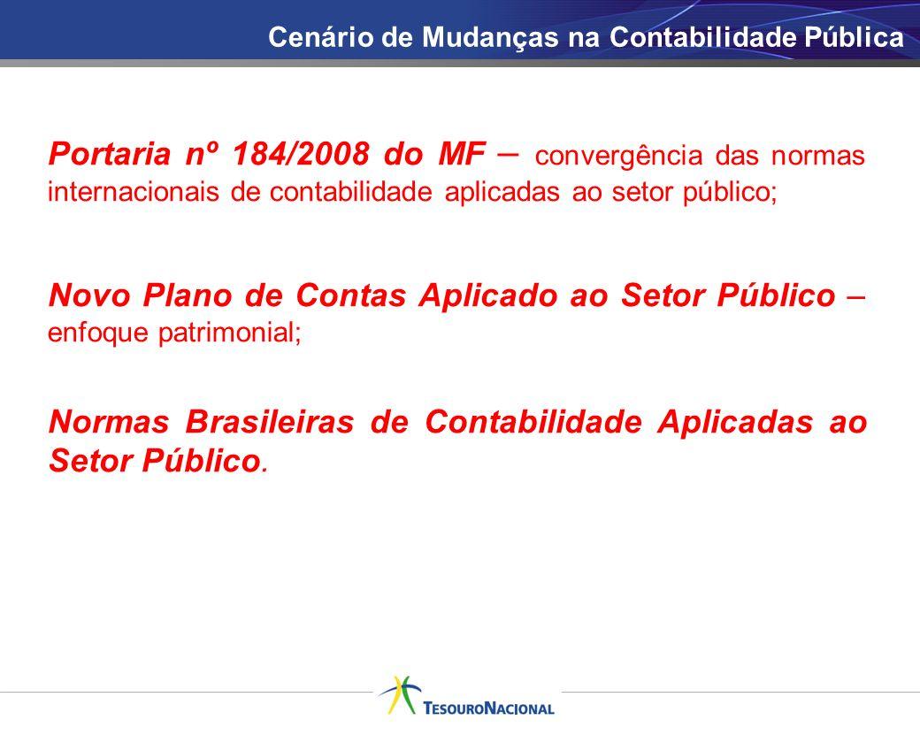 Novo Plano de Contas Aplicado ao Setor Público – enfoque patrimonial;