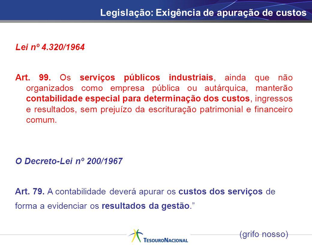 Legislação: Exigência de apuração de custos