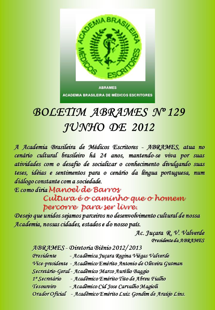 BOLETIM ABRAMES Nº 129 JUNHO DE 2012
