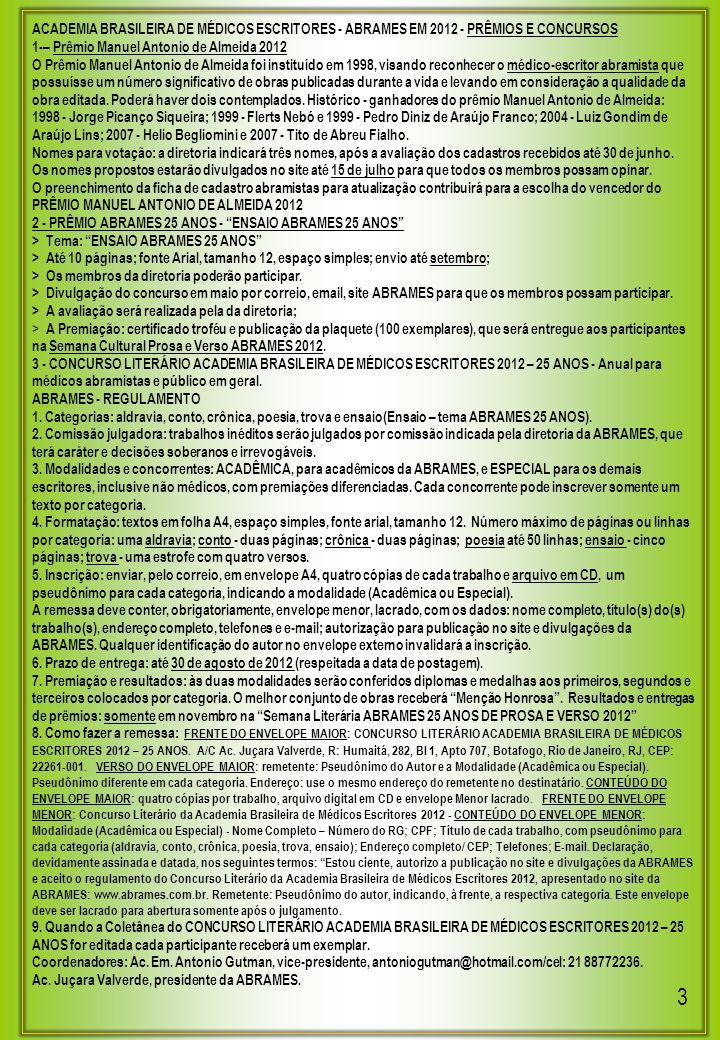 ACADEMIA BRASILEIRA DE MÉDICOS ESCRITORES - ABRAMES EM 2012 - PRÊMIOS E CONCURSOS