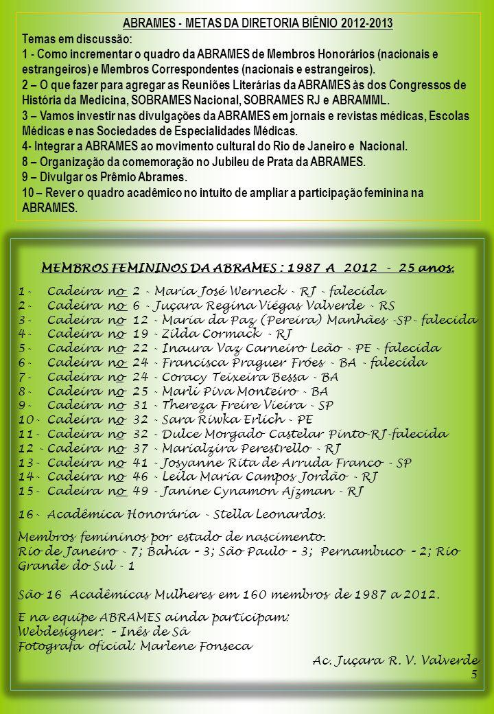 ABRAMES - METAS DA DIRETORIA BIÊNIO 2012-2013