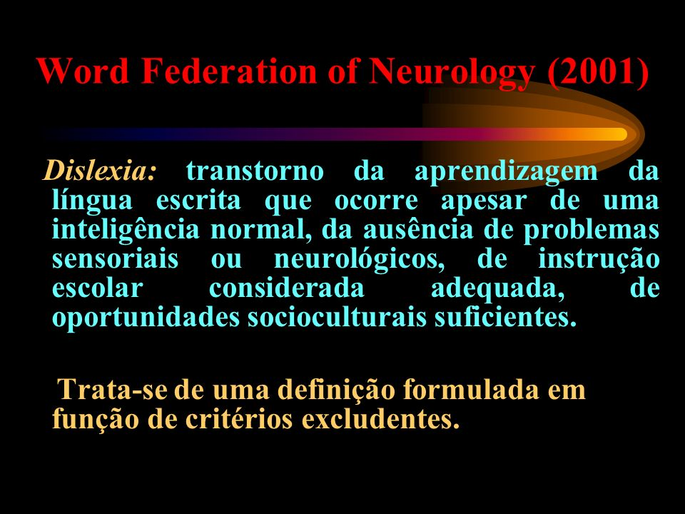 Word Federation of Neurology (2001)