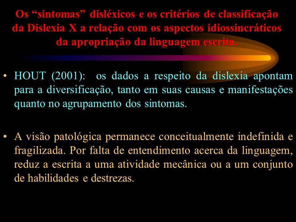 Os sintomas disléxicos e os critérios de classificação da Dislexia X a relação com os aspectos idiossincráticos da apropriação da linguagem escrita.