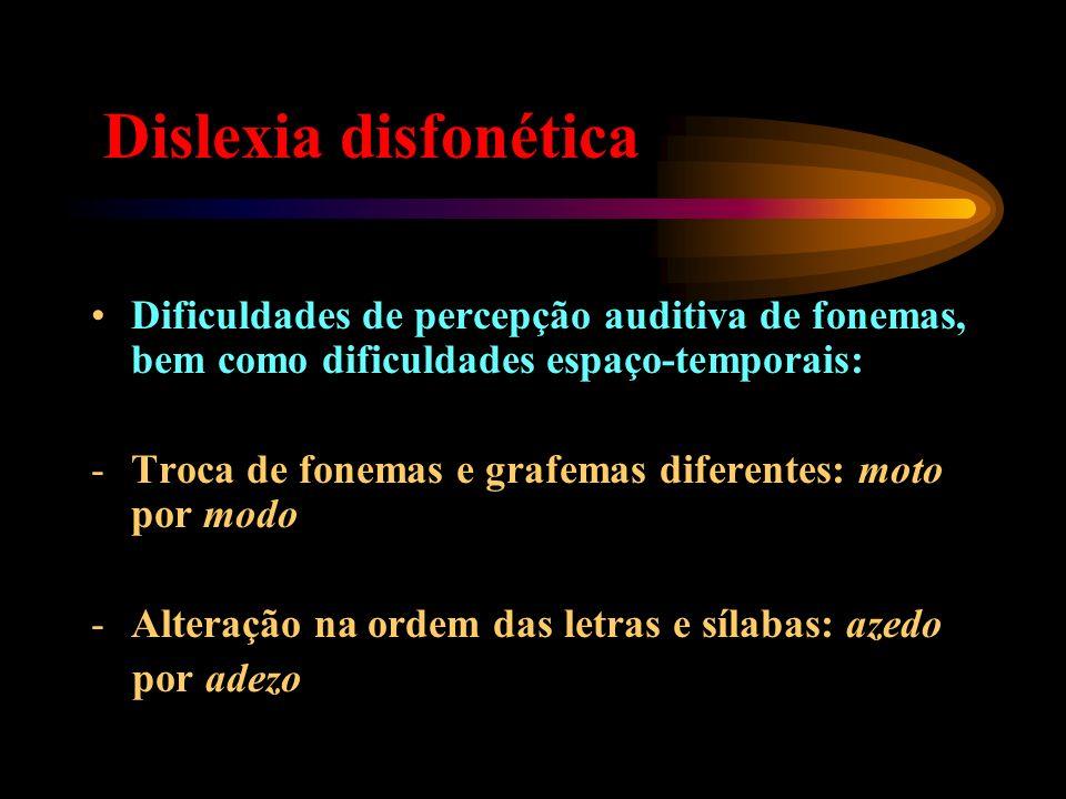 Dislexia disfonéticaDificuldades de percepção auditiva de fonemas, bem como dificuldades espaço-temporais: