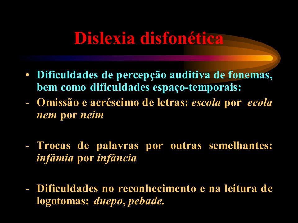 Dislexia disfonética Dificuldades de percepção auditiva de fonemas, bem como dificuldades espaço-temporais: