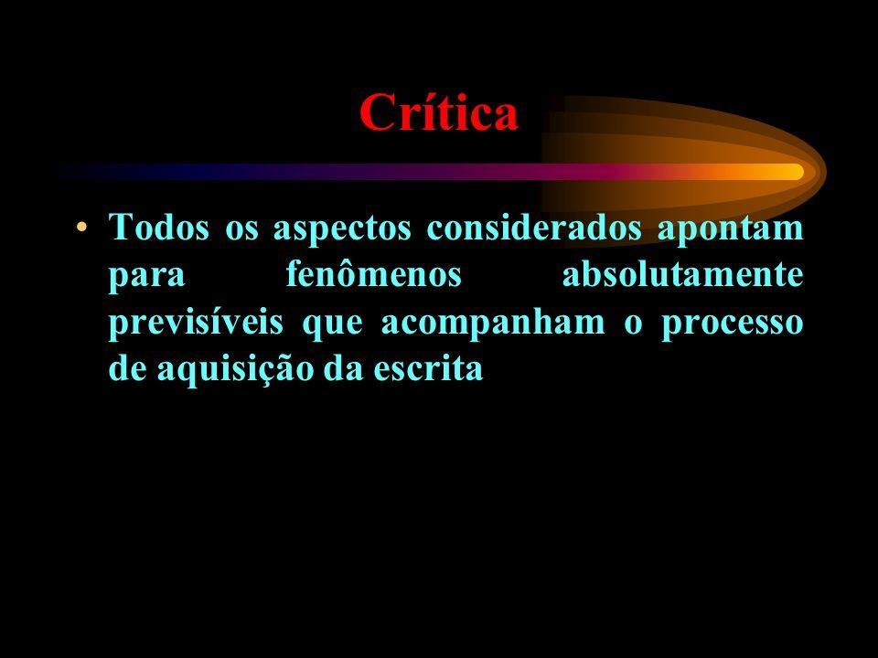 CríticaTodos os aspectos considerados apontam para fenômenos absolutamente previsíveis que acompanham o processo de aquisição da escrita.