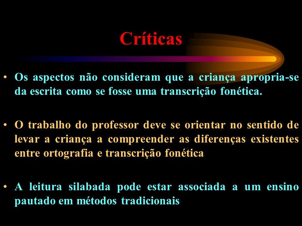 Críticas Os aspectos não consideram que a criança apropria-se da escrita como se fosse uma transcrição fonética.