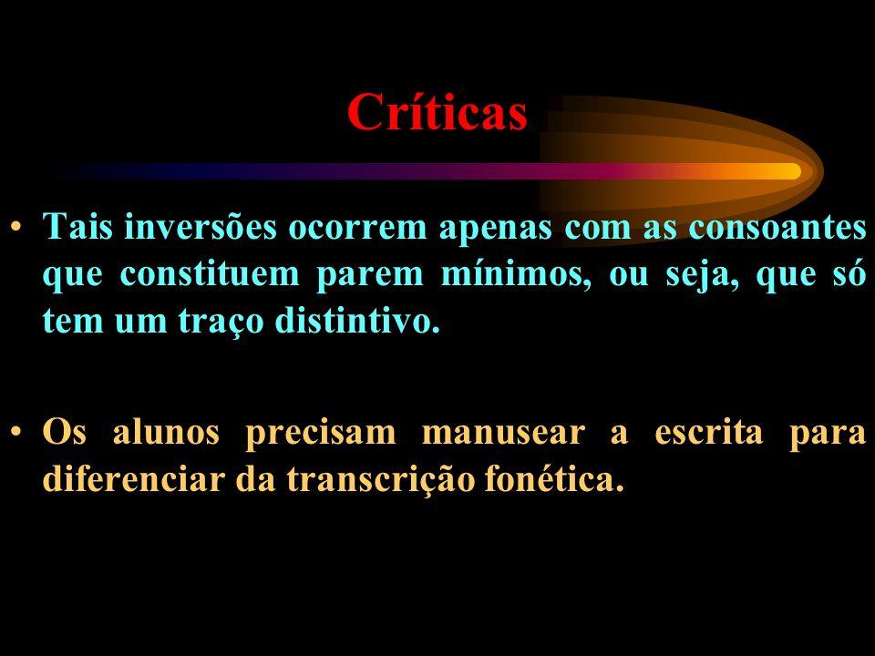 Críticas Tais inversões ocorrem apenas com as consoantes que constituem parem mínimos, ou seja, que só tem um traço distintivo.