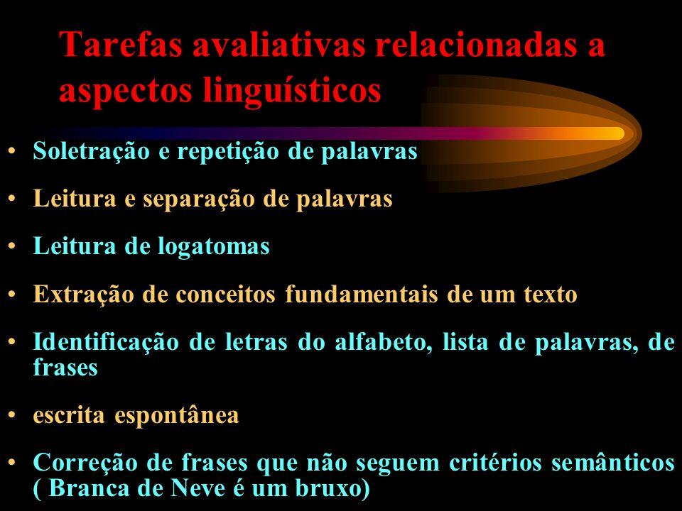 Tarefas avaliativas relacionadas a aspectos linguísticos