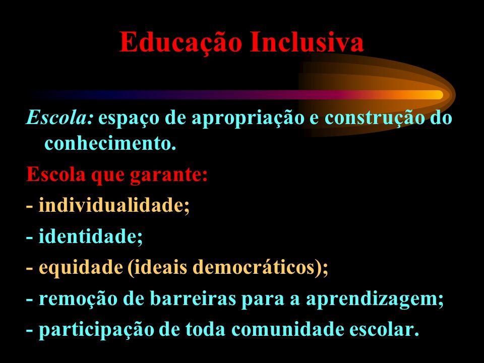 Educação Inclusiva Escola: espaço de apropriação e construção do conhecimento. Escola que garante: