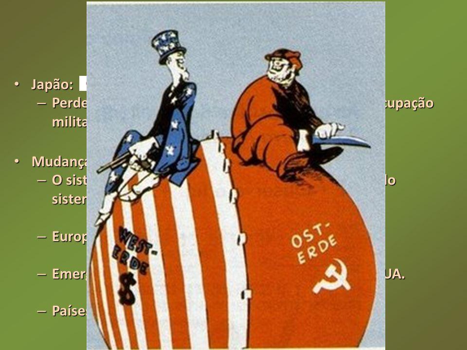 A Guerra Fria Japão: Perdeu territórios no continente asiático e sofreu ocupação militar norte-americana.