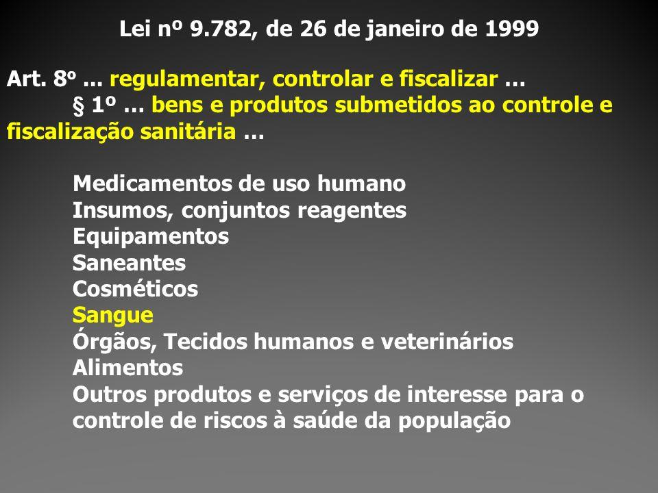 Lei nº 9.782, de 26 de janeiro de 1999Art. 8o ... regulamentar, controlar e fiscalizar …