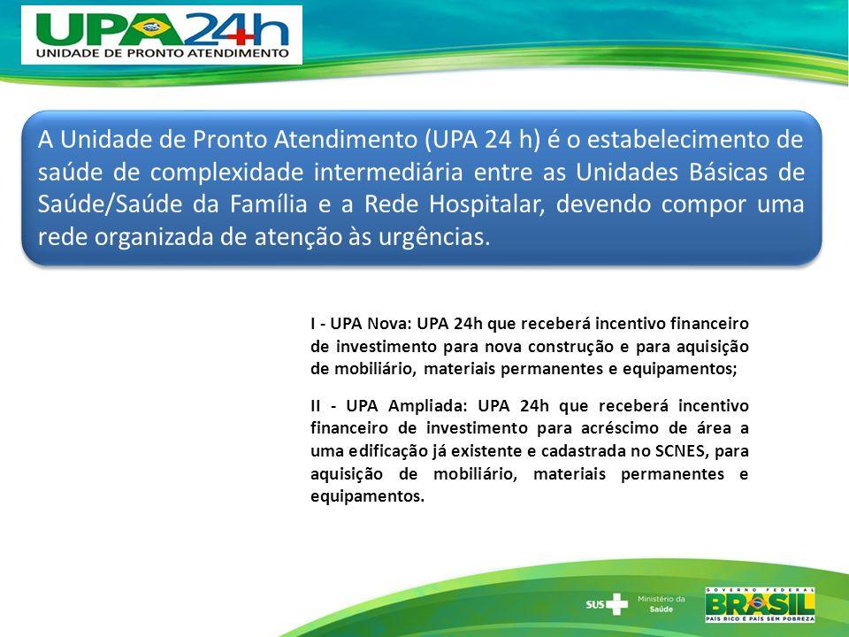 A Unidade de Pronto Atendimento (UPA 24 h) é o estabelecimento de saúde de complexidade intermediária entre as Unidades Básicas de Saúde/Saúde da Família e a Rede Hospitalar, devendo compor uma rede organizada de atenção às urgências.
