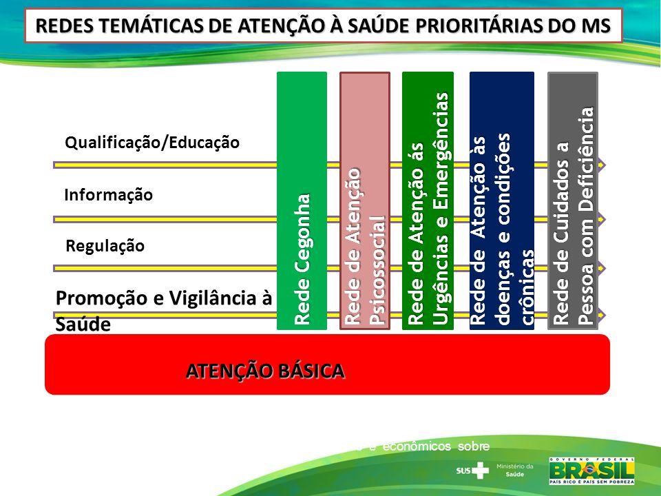 REDES TEMÁTICAS DE ATENÇÃO À SAÚDE PRIORITÁRIAS DO MS