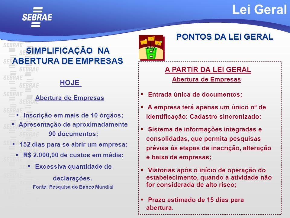 Lei Geral PONTOS DA LEI GERAL SIMPLIFICAÇÃO NA ABERTURA DE EMPRESAS