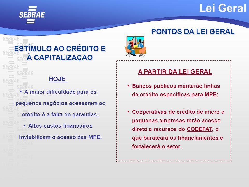 Lei Geral PONTOS DA LEI GERAL ESTÍMULO AO CRÉDITO E À CAPITALIZAÇÃO