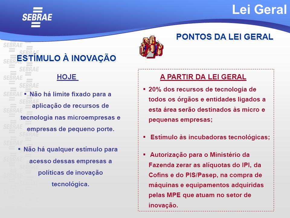 Lei Geral PONTOS DA LEI GERAL ESTÍMULO À INOVAÇÃO