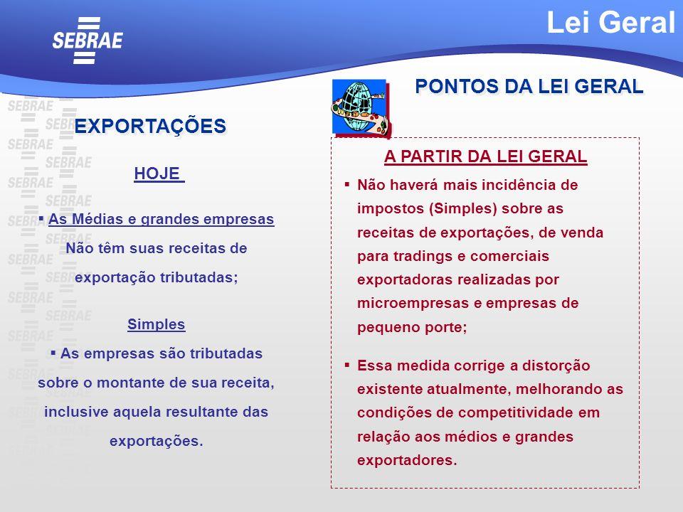 Lei Geral PONTOS DA LEI GERAL EXPORTAÇÕES A PARTIR DA LEI GERAL HOJE