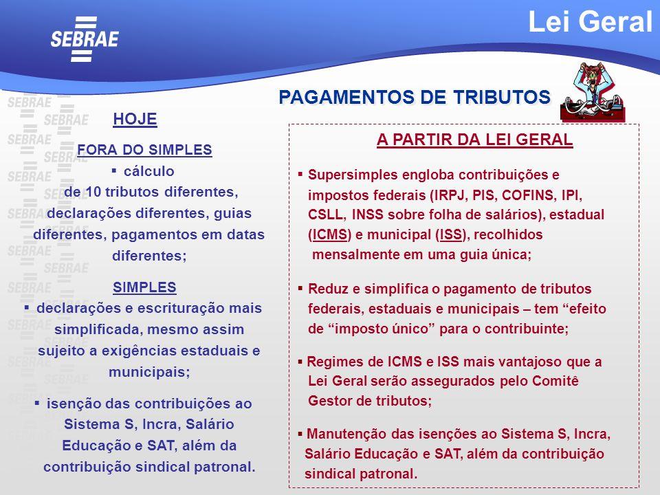 Lei Geral PAGAMENTOS DE TRIBUTOS HOJE A PARTIR DA LEI GERAL