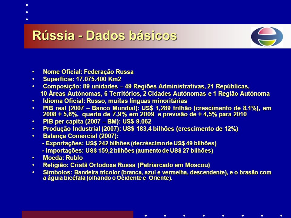 Rússia - Dados básicos Nome Oficial: Federação Russa