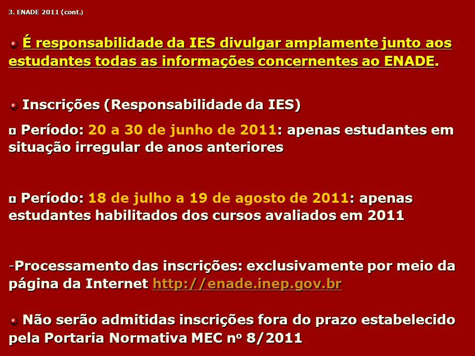 Inscrições (Responsabilidade da IES)