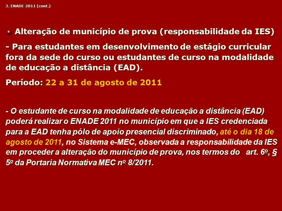 Alteração de município de prova (responsabilidade da IES)