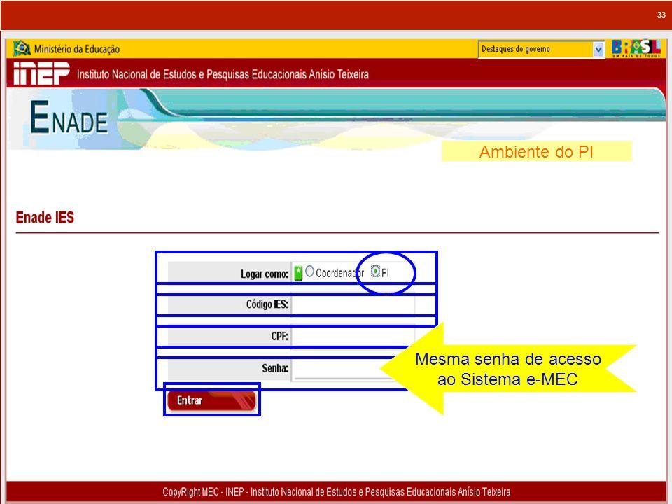 33 Ambiente do PI Mesma senha de acesso ao Sistema e-MEC