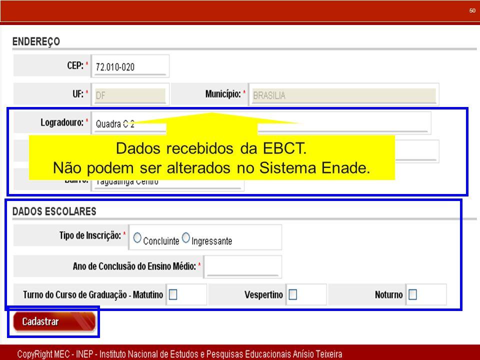 Dados recebidos da EBCT. Não podem ser alterados no Sistema Enade.