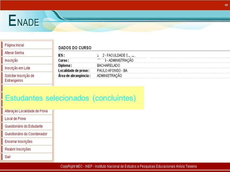 Estudantes selecionados (concluintes)
