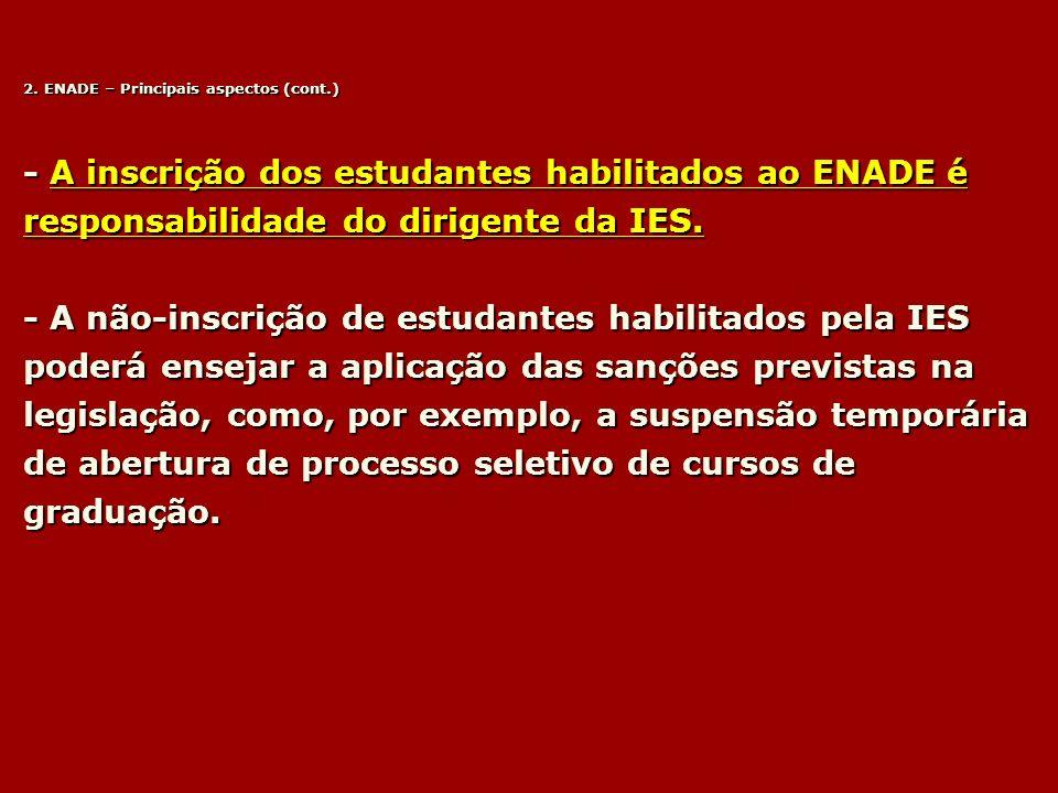 2. ENADE – Principais aspectos (cont.)