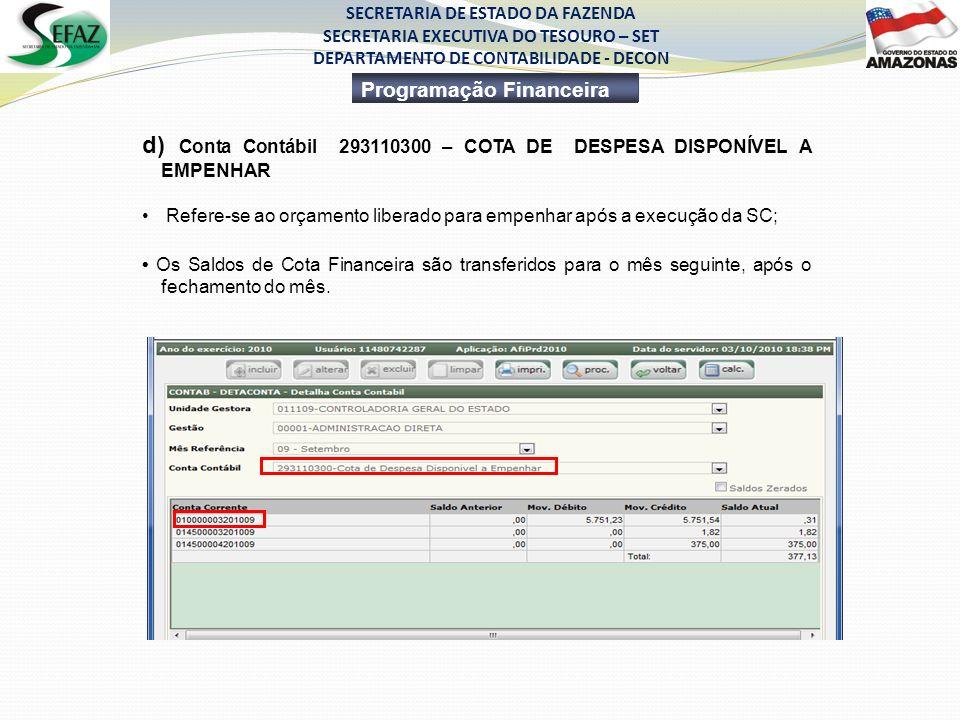 d) Conta Contábil 293110300 – COTA DE DESPESA DISPONÍVEL A EMPENHAR