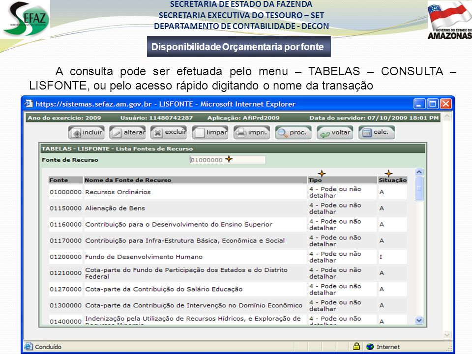 SECRETARIA DE ESTADO DA FAZENDA SECRETARIA EXECUTIVA DO TESOURO