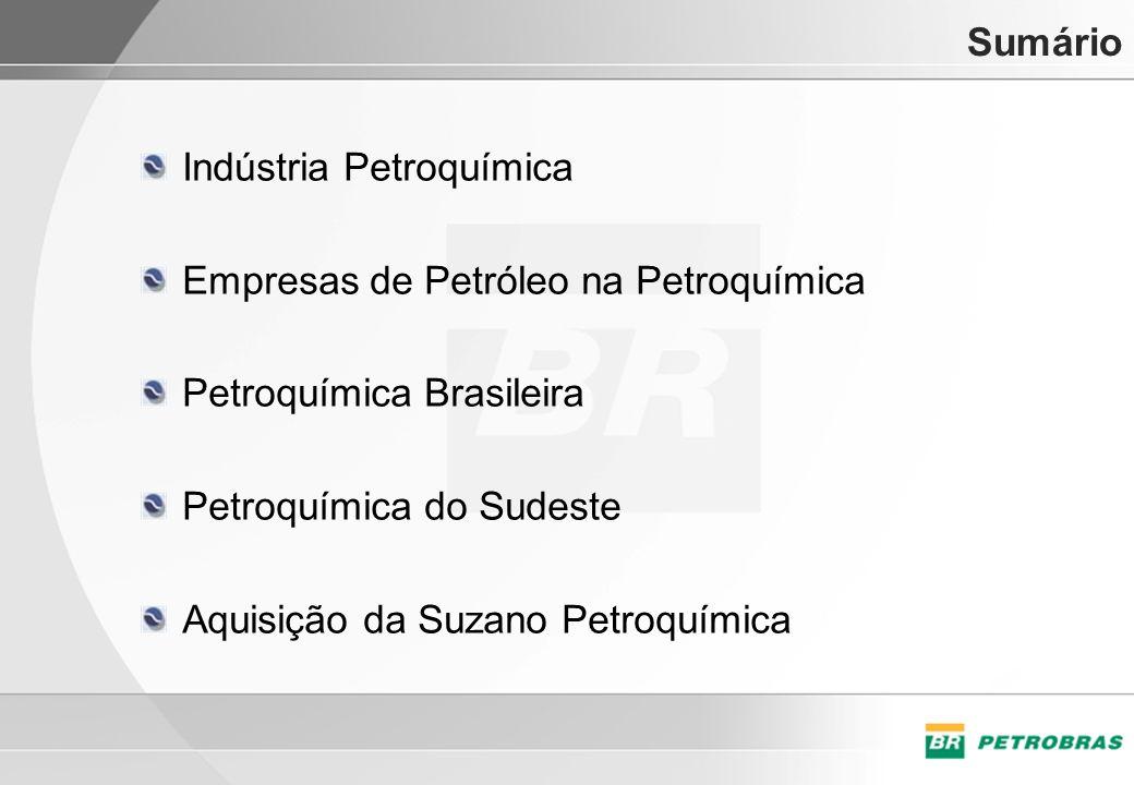 Sumário Indústria Petroquímica. Empresas de Petróleo na Petroquímica. Petroquímica Brasileira. Petroquímica do Sudeste.