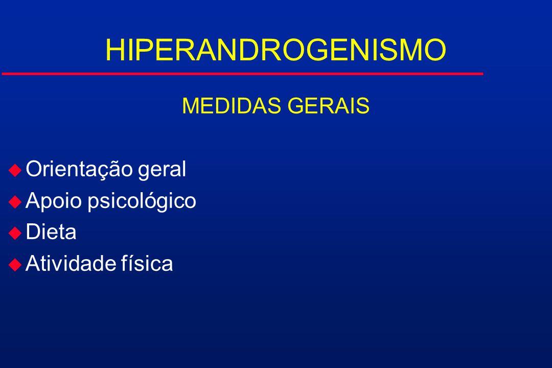 HIPERANDROGENISMO MEDIDAS GERAIS Orientação geral Apoio psicológico