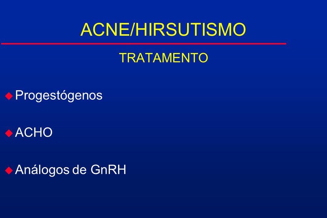 ACNE/HIRSUTISMO TRATAMENTO Progestógenos ACHO Análogos de GnRH