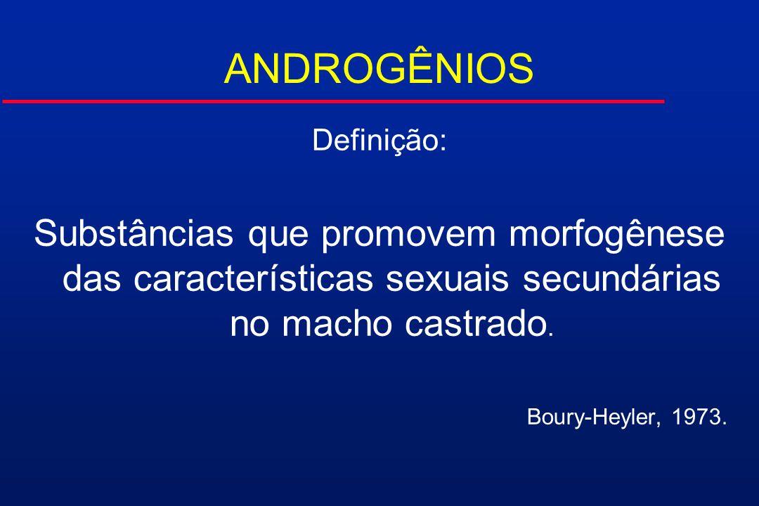ANDROGÊNIOS Definição: Substâncias que promovem morfogênese das características sexuais secundárias no macho castrado.