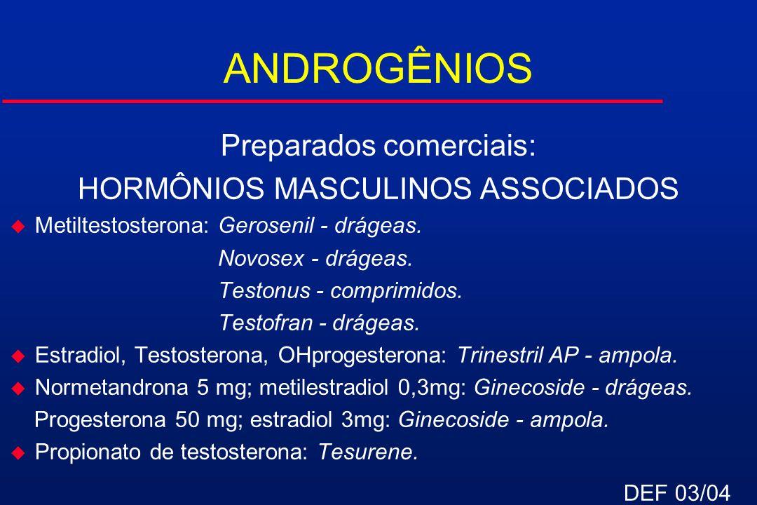 ANDROGÊNIOS Preparados comerciais: HORMÔNIOS MASCULINOS ASSOCIADOS