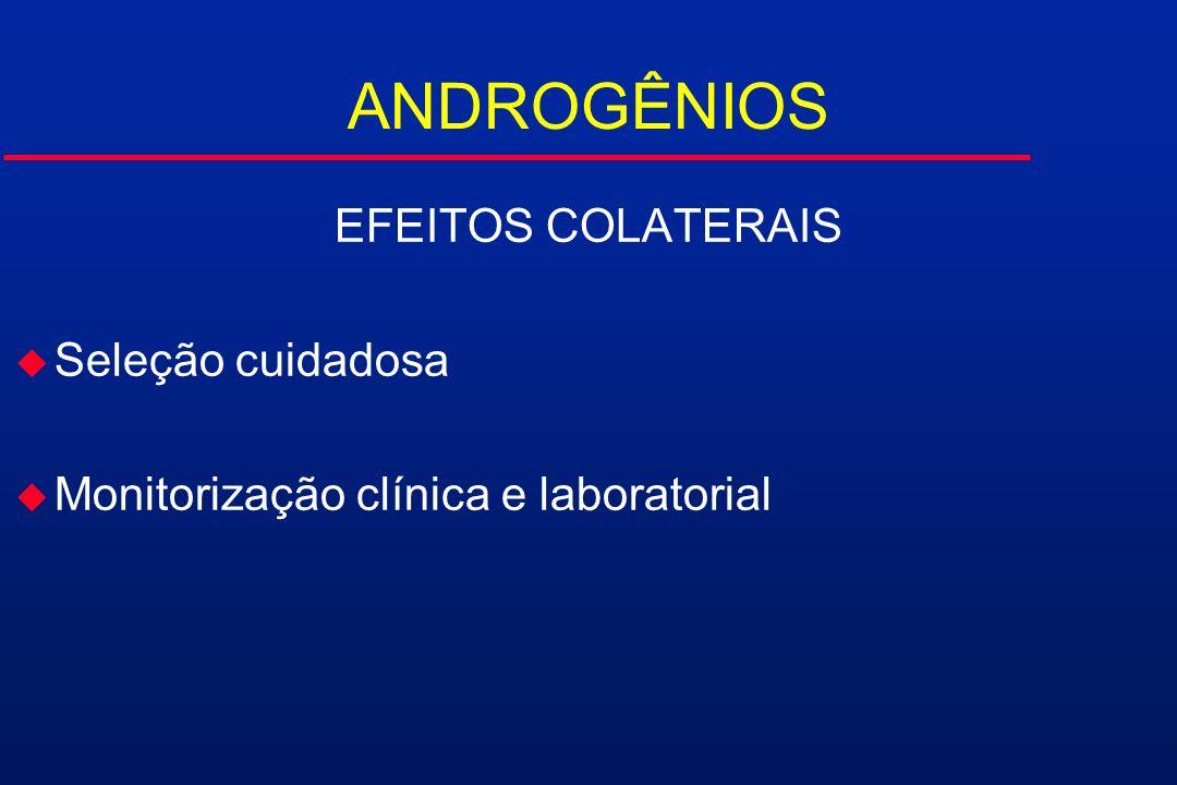 ANDROGÊNIOS EFEITOS COLATERAIS Seleção cuidadosa
