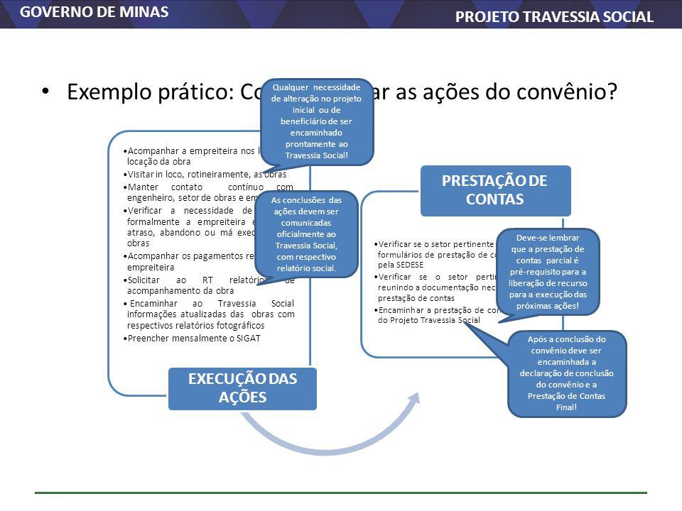 Exemplo prático: Como executar as ações do convênio