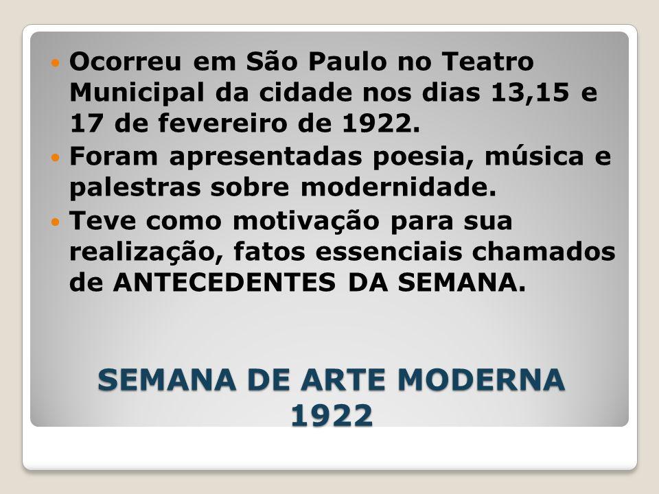 Ocorreu em São Paulo no Teatro Municipal da cidade nos dias 13,15 e 17 de fevereiro de 1922.