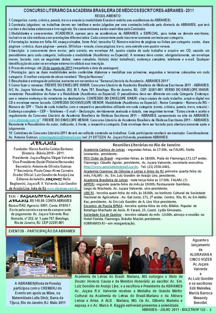 CONCURSO LITERÁRIO DA ACADEMIA BRASILEIRA DE MÉDICOS ESCRITORES-ABRAMES - 2011