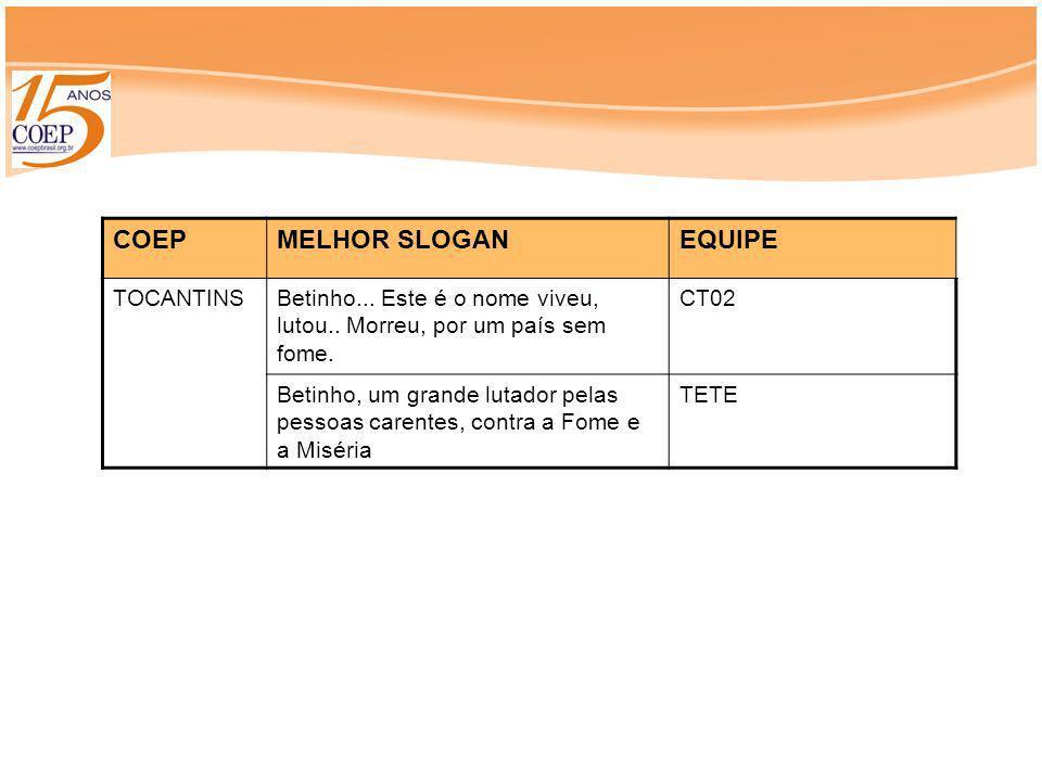 COEP MELHOR SLOGAN EQUIPE TOCANTINS